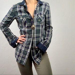 Zara tartan plaid button down blouse sz Small